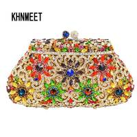 LaiSC Flower Clutch Gold Crystal Luxury Women Clutch Bag Ladies Rhinestone Party Bag Designer Crystal Purse