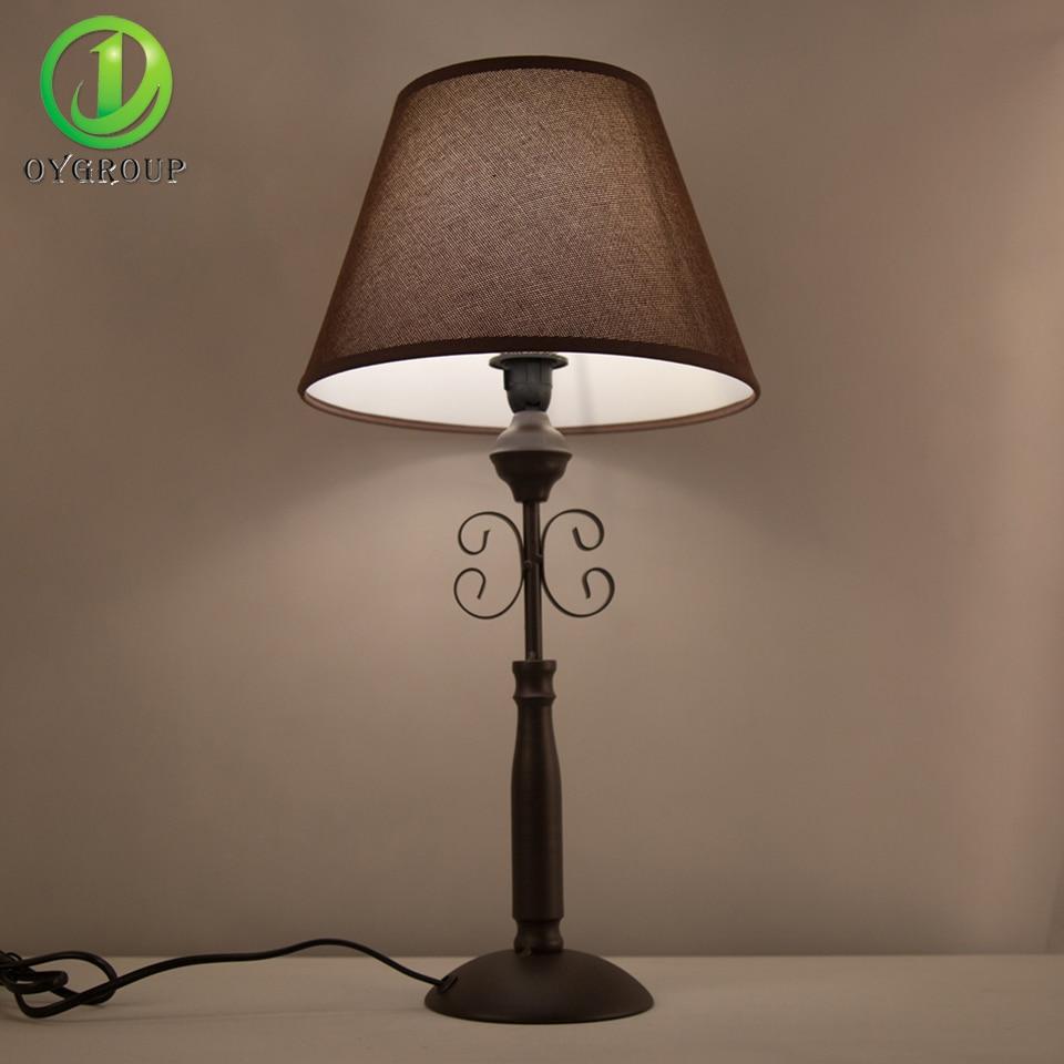 Vintage Iron Table Lamp Dark Brown Home Decor Desk Light