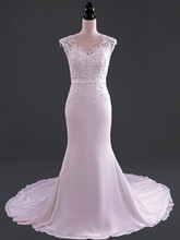 Concise Mermaid Wedding Dress Elegant O-neck Keyhole Back Chapel Train Applique Beading Bridal Gown Satin NM 539