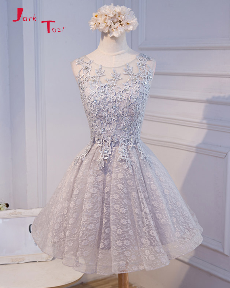 Jark Tozr Custom Made Appliques Beaded Crystal Grey Lace Above Knee Mini   Bridesmaid     Dresses   Short For Junior 2019 Party Gowns