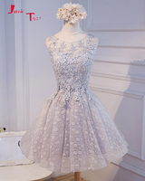 Jark Tozr Custom Made Appliques Beaded Crystal Grey Lace Above Knee Mini Bridesmaid Dresses Short For
