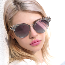 Rhinestone Sunglasses Women Luxury Brand Design Flower Sun Glasses Shades for Retro Festival Vintage Like 2019
