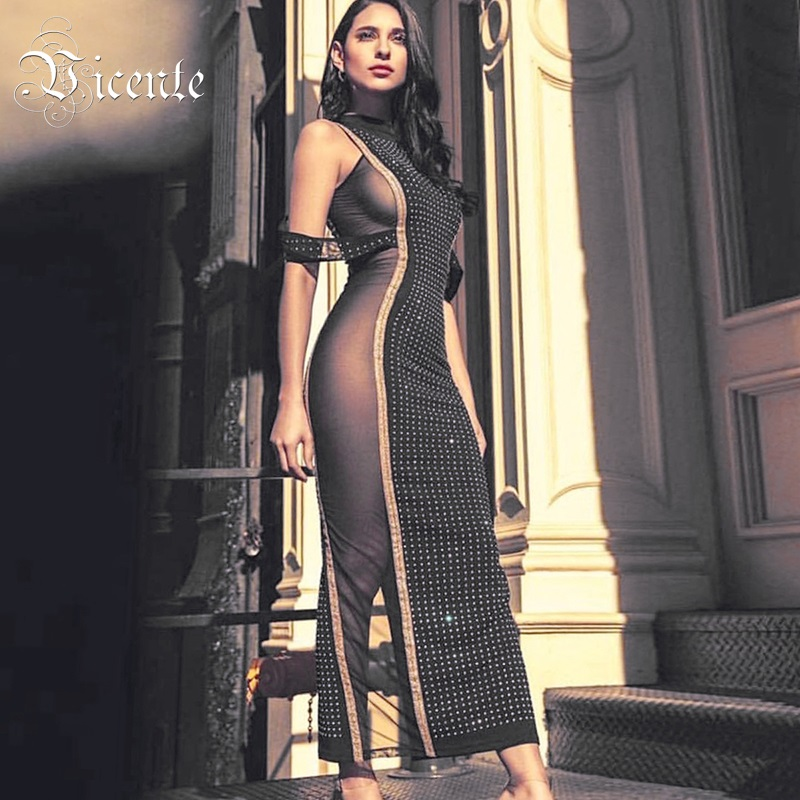 Vicente HOT 2019 New Stylish Elegant Beads Embellished Sexy Off Shoulder Mesh Splicing Wholesale Celebrity Maxi