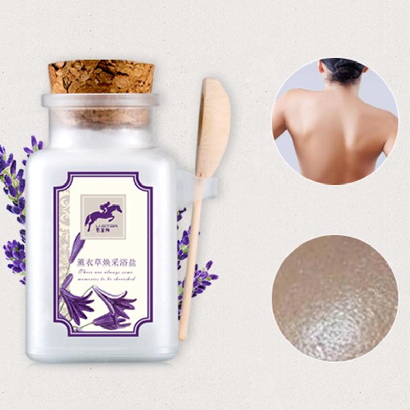 Luckyfine Nature Lavender Bath Salt Oil Control Exfoliate Deep Cleansing Acne Body Care Bath Salt With Spoon