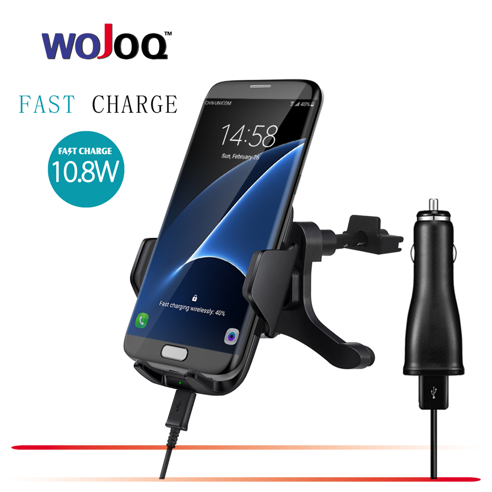 WOJOQ QC2.0 Wireless Car Charger Phone Mount Holder Fast Charging For Samsung Note 5 S6 S7 S8 Edge Plus iPhone 8 Plus Qi standar