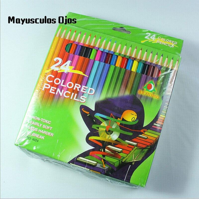 Eerlijkheid Zh 24 Pcs Potloden Multicolor Groen Hout Secret Garden Speciale Pen Schilderen Kleur Pen 24 Kleur Speelgoed