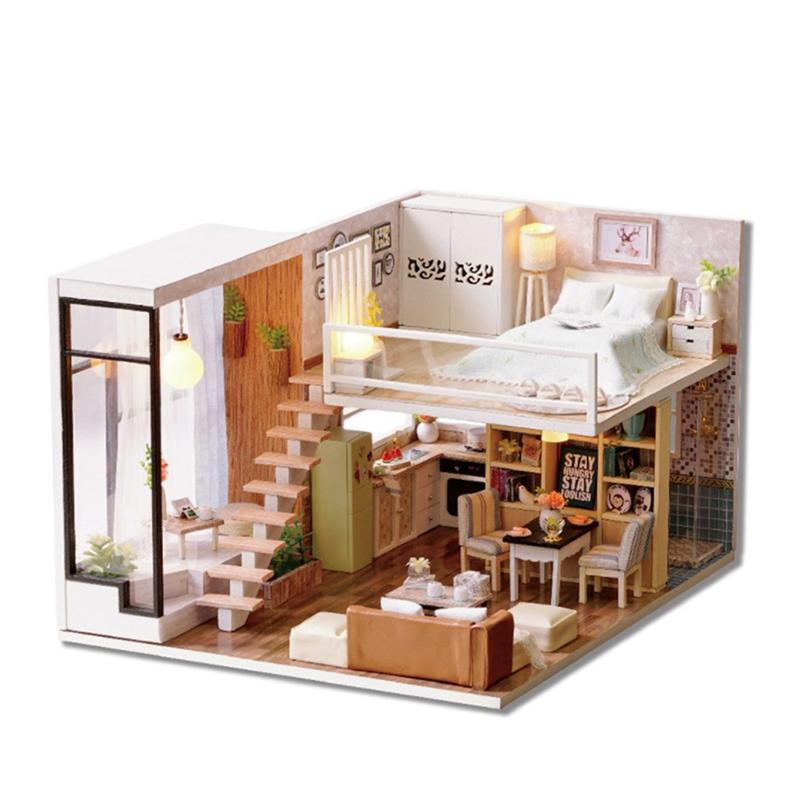 Miniature Crafting DIY House Kit Wooden Dollhouse Room Model Educational Toy Handmade Model with Furnitures for Gift Toy Kids wooden handmade dollhouse miniature diy kit caravan