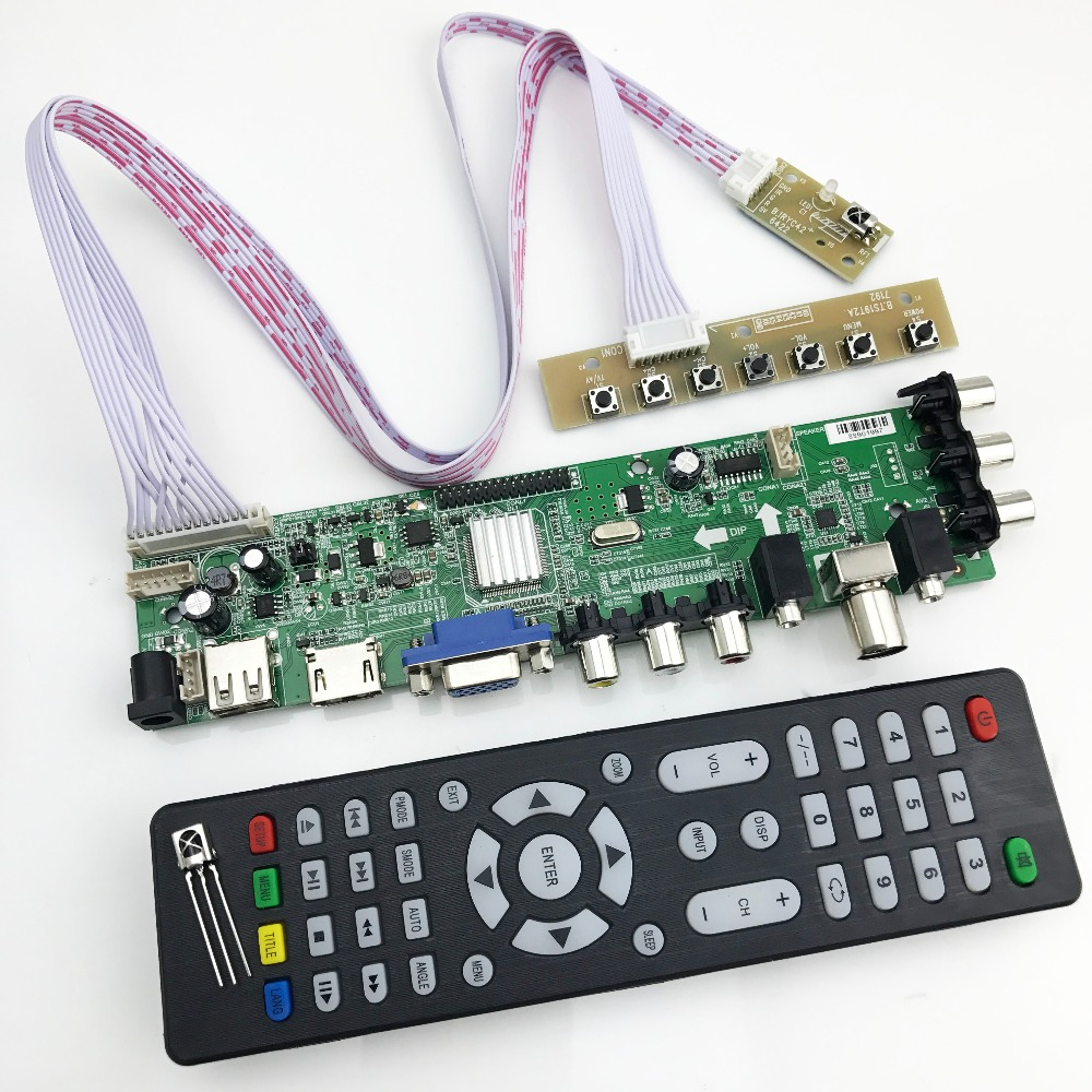 Universal tv board dvb-t2 ds d3663lua support support DVB-T2/T/C russian with lvds cable 40pin 1ch-6 bit  366346