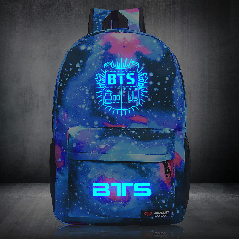 Bangtan Boys BTS backpack korean kpop stars  bag Backpacks for teenagerss canvas Starry sky Luminous book school harajuku bags 2017 hot sale kpop fashion harajuku bts infinite fisland boyfriend snsd bap tvxq shinee umbrella