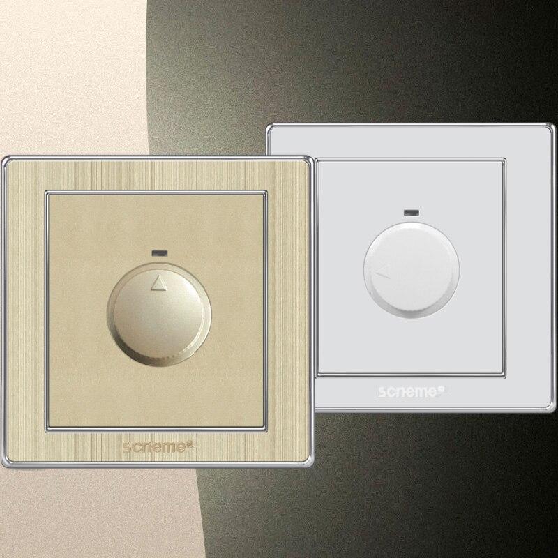 Ventilador de techo interruptor de control de velocidad, Blanco/oro 86 tipo interruptor de pared 10A 220 V