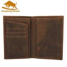 Crazy Horse, кожаная сумка, кошелек, Ретро стиль, футляр для карт, длинная Обложка для паспорта, деловая, мужская, Воловья кожа, для путешествий, Обложка для паспорта