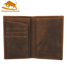 Crazy Horse Leather Bag Purse Retro Card Case Pack Long Passport Cover Business Men Cowhide Travel Passport Holder