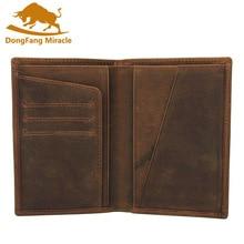 Crazy Horse Leather Bag Purse Retro Card Case Pack Long Passport Cover Business Men Cowhide Travel Passport Holder