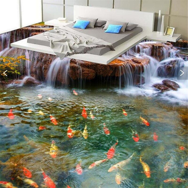 Wellyu Custom Flooring 3D River Carp Carp Bathroom Floor Murals -3d PVC Wallpaper Self-adhesive Wall Flooring