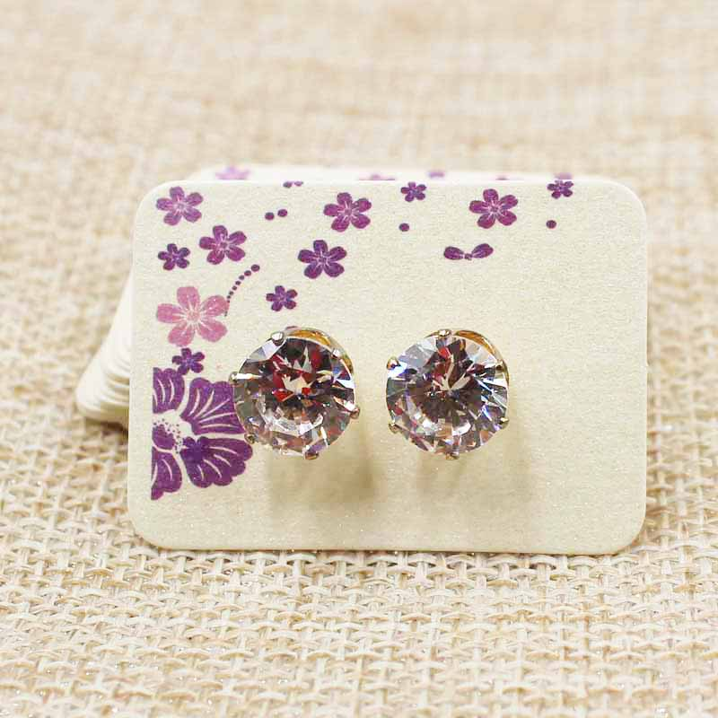 100PCS 3.5*2.5cm Beige Small Cute Stud Earring Hang Tag Card Custom Paper Beautiful Flower Print Jewelry Display Packing Card