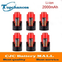 High Quality 6PCS 12V 2000mAh Li-Ion Replacement Power Tool Battery for Milwaukee M12 C12 BX C12 B 48-11-2402 48-11-2401