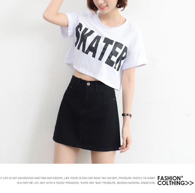Lucyever Fashion Korean Summer Women Denim Skirt High Waist Black Mini Skirts Package Hip Blue Jeans Harajuku Plus Size Cotton 26