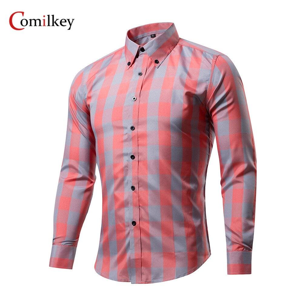 Ropa de marca Para hombre Camisas de negocios Camisa delgada de manga - Ropa de hombre