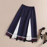2016 Rushed Lolita Skirt Breathable Cotton Split Stitching Women Retro Literary Style Maxi Female Leisure