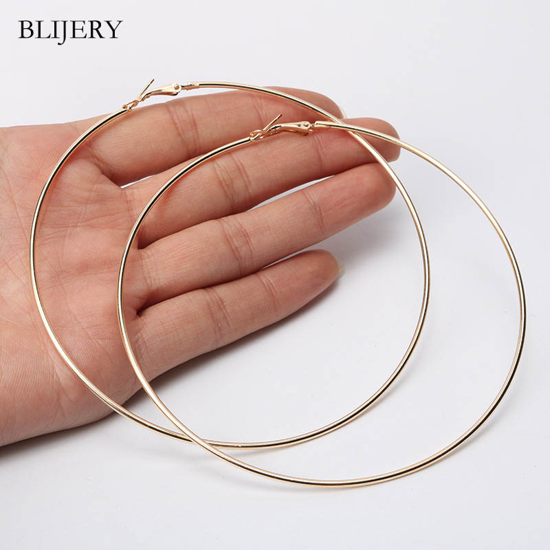 BLIJERY Fashion 110mm Super Large Hoop Earrings Exaggerated Smooth Big Circle Earrings For Women Punk Jewelry Boucles D'oreilles