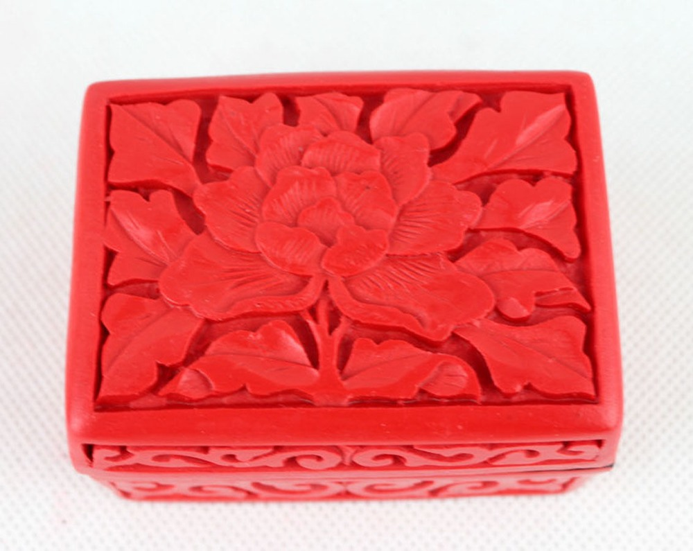 Exquisite Chinese Handmade Vintage Carved Lacquerware Flowers Jewelry&Gift Box