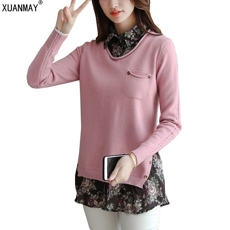 Otoño e invierno de las mujeres nuevo suéter cuello de la camisa de costura fals