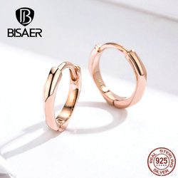 BISAER Round Earrings for Women 925 Sterling silver Simple Forever Circle Stud Earrings Female Wedding Engagement Jewelry EFE119