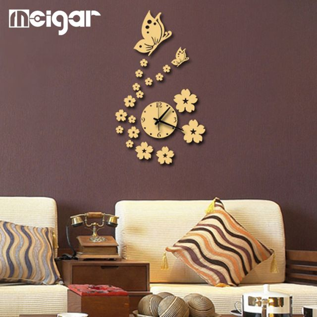 Wall Clock DIY Wall Sticker Mirror Fashion Horloge Murale Beautiful Butterflies  Wall Watch Acrylic 3D Mirror