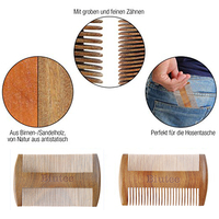 Pocket Wooden Comb Natural Green Wood Super Narrow Tooth Wood Combs No Static Lice Pet Beard