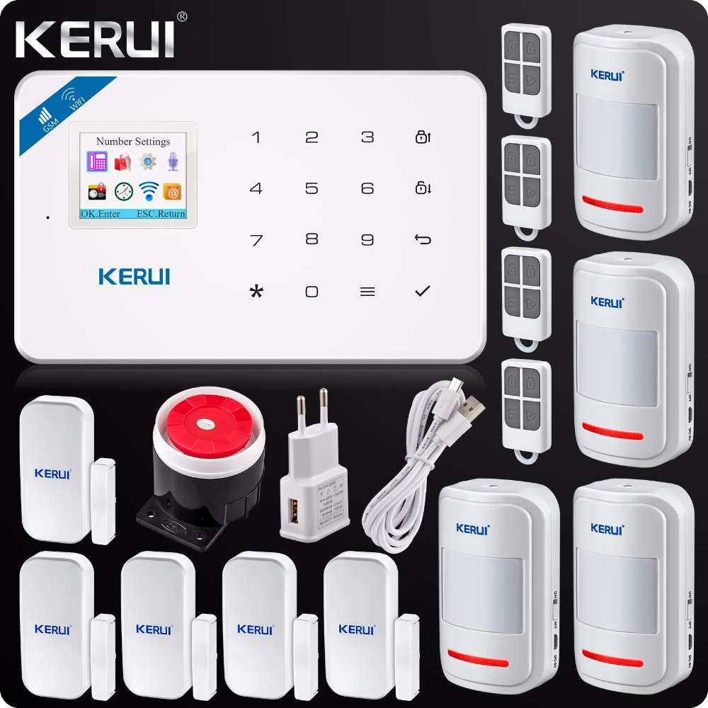 2018Kerui W18 Wireless Wifi GSM IOS/Android APP Control LCD GSM SMS Burglar Alarm System For Home Security kerui w18 wireless wifi gsm ios android app control lcd gsm sms burglar alarm system for home security russian english voice