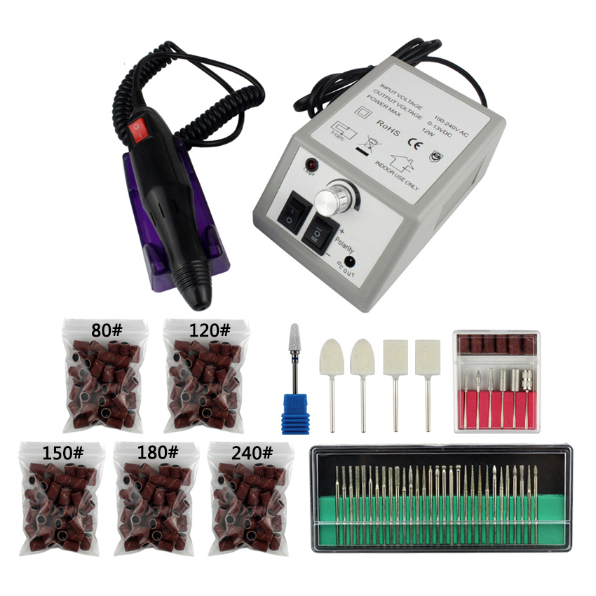 Pro 1Set 20000RPM Electric Nail Drill File Bit Machine Manicure Kit Pedicure Ceramic Wool Polisher UV Gel Polish Remover Tools