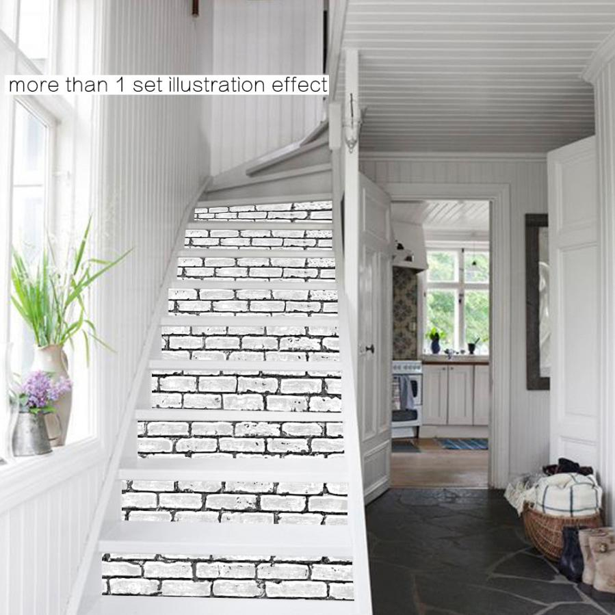 Hot Sale Fashionable Home Decor Diy Steps Sticker Brick Wall Style Removable  Stair Sticker Home Decor