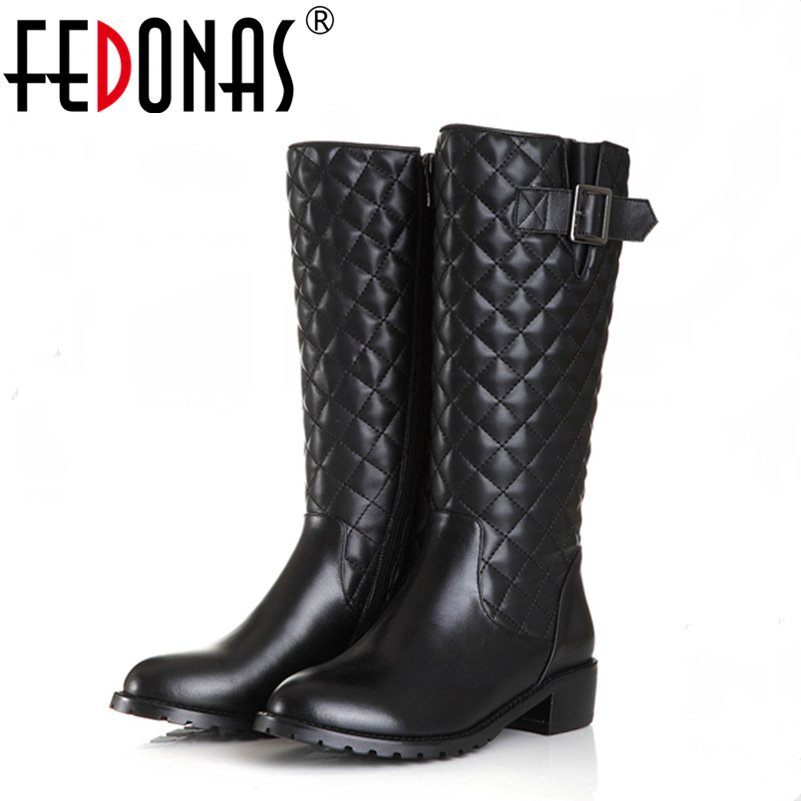 FEDONAS Top Quality Women Genuine Leather Knee High Boots Sexy Thick Heeled Autumn Winter Warm Long Motorcycle Boots Shoes Woman