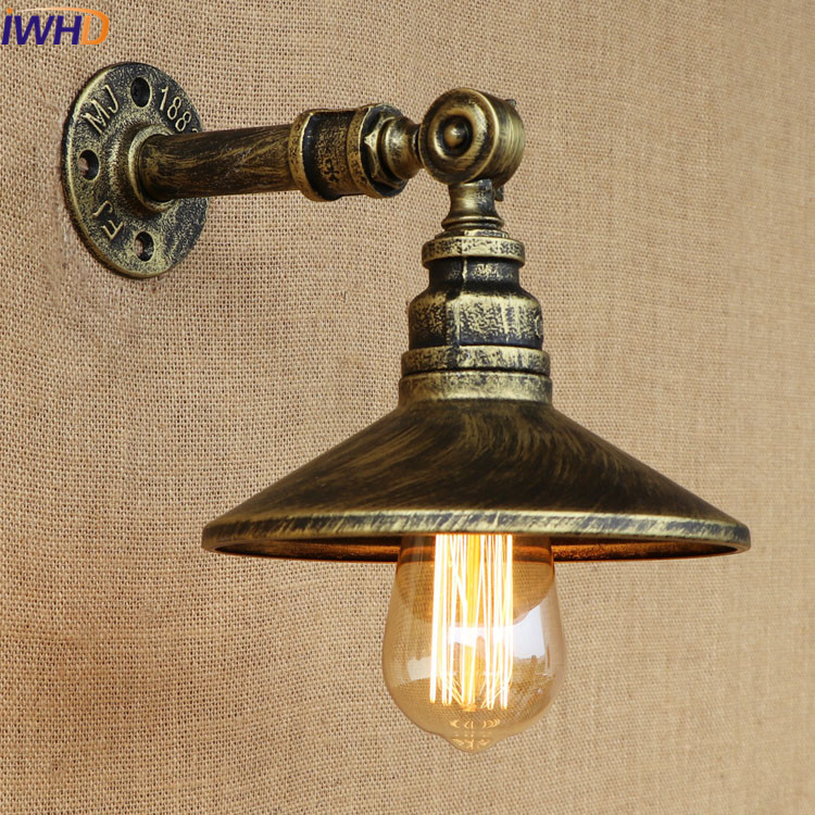 Retro Vintage Industrial Iron Rust Water Pipe E27 Edison Bulb Light Fixture Loft Wall Lamp Bedside Light Home Lighting Lamparas loft industrial rust ceramics hanging lamp vintage pendant lamp cafe bar edison retro iron lighting