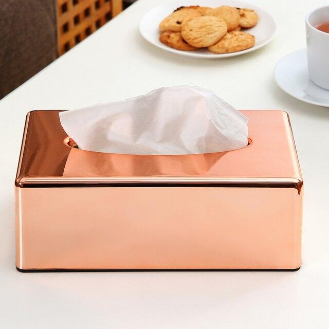 Estante de papel elegante real Rosa oro coche hogar rectángulo en forma de caja de pañuelos contenedor servilleta soporte de pañuelos