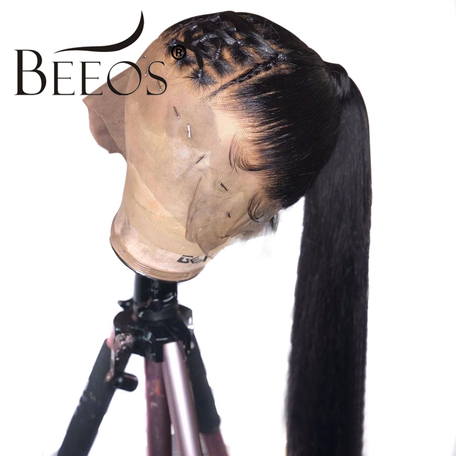 Beeos Brazilian Glueless Full Lace Human Hair Wigs 150 Density Straight Bleached Knots PrePlucked Remy Hair