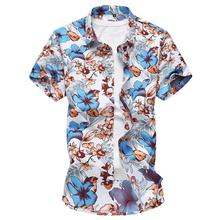 Flower Shirts Mens Hawaiian Floral Loose Short sleeve Blouse Clothing Slim Fit Red Blue -5XL
