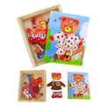 Free shipping educational toys wooden clothing Winnie bear single girl locker box stereo jigsaw puzzle game creative gift 1pc