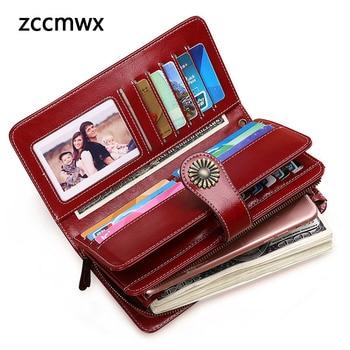 Hot Sale Women Clutch 2018 New Wallet Split Leather Wallet Female Long Wallet Women Zipper Purse Strap Coin Purse For iPhone 8