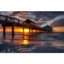 Full Square 5d Diy Diamond Painting Sea Diamant Landscape Boat Dimond Wooden Bridge Sunset Art Home Decor Z11