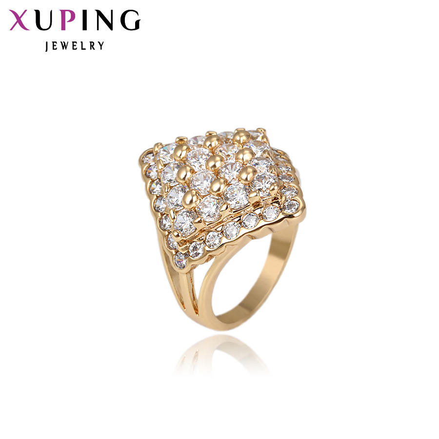 Xuping Luxury Ring Populär Design Charm Style Ring för Girl Women Guldfärgade Julringar Ringar 13501