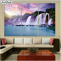 Triptych waterfall scenery 5d diy diamond painting map icon full square drill diamond embroidery living room decoration crafts