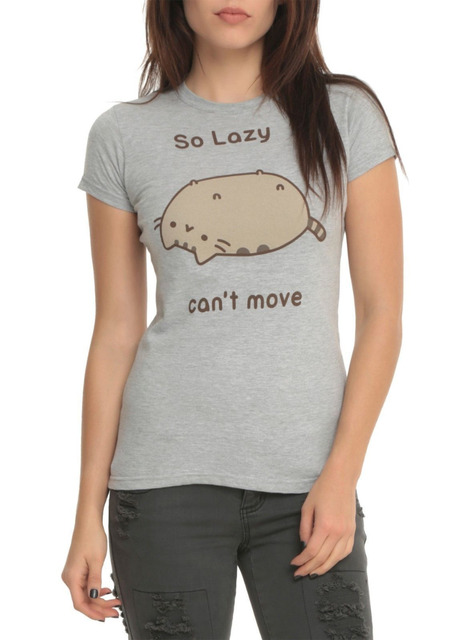 Pusheen The Cat SO LAZY CAN'T MOVE T-Shirt Unisex NWT Tops Tee Shirts Short Sleeve Cotton Camisetas Gray T shirt US Size XS-3XL
