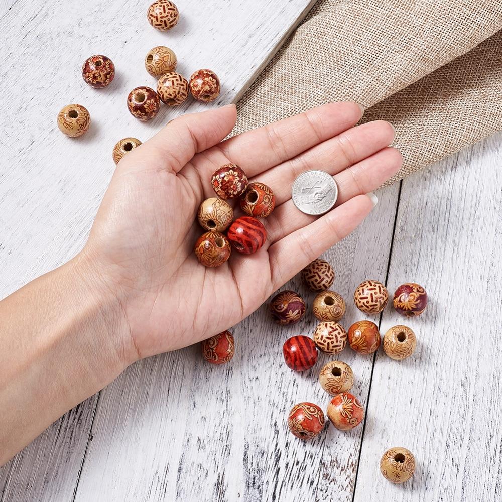 20pcs//Lot naturel motif rond en bois Perles ~ en bois Perles 16x15mm À faire soi-même Bracelet