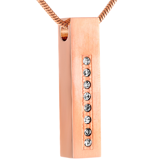 Stainless Steel Memorial Pendant With Crystals