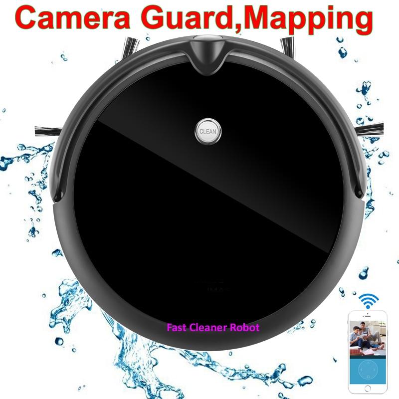 Macchina fotografica di Protezione Video Chiamata Robot Aspirapolvere Umido e Secco Con Mappa di Navigazione, WiFi App di Controllo, memoria intelligente, Grande Serbatoio di Acqua
