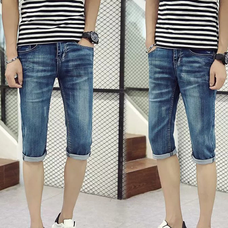 Top Quality 2020 Fashion Casual Denim Snow Grey Ripped Hole Calf Length Pants Teenagers Cowboy Slim Capri Jeans Masculina Jeans Aliexpress
