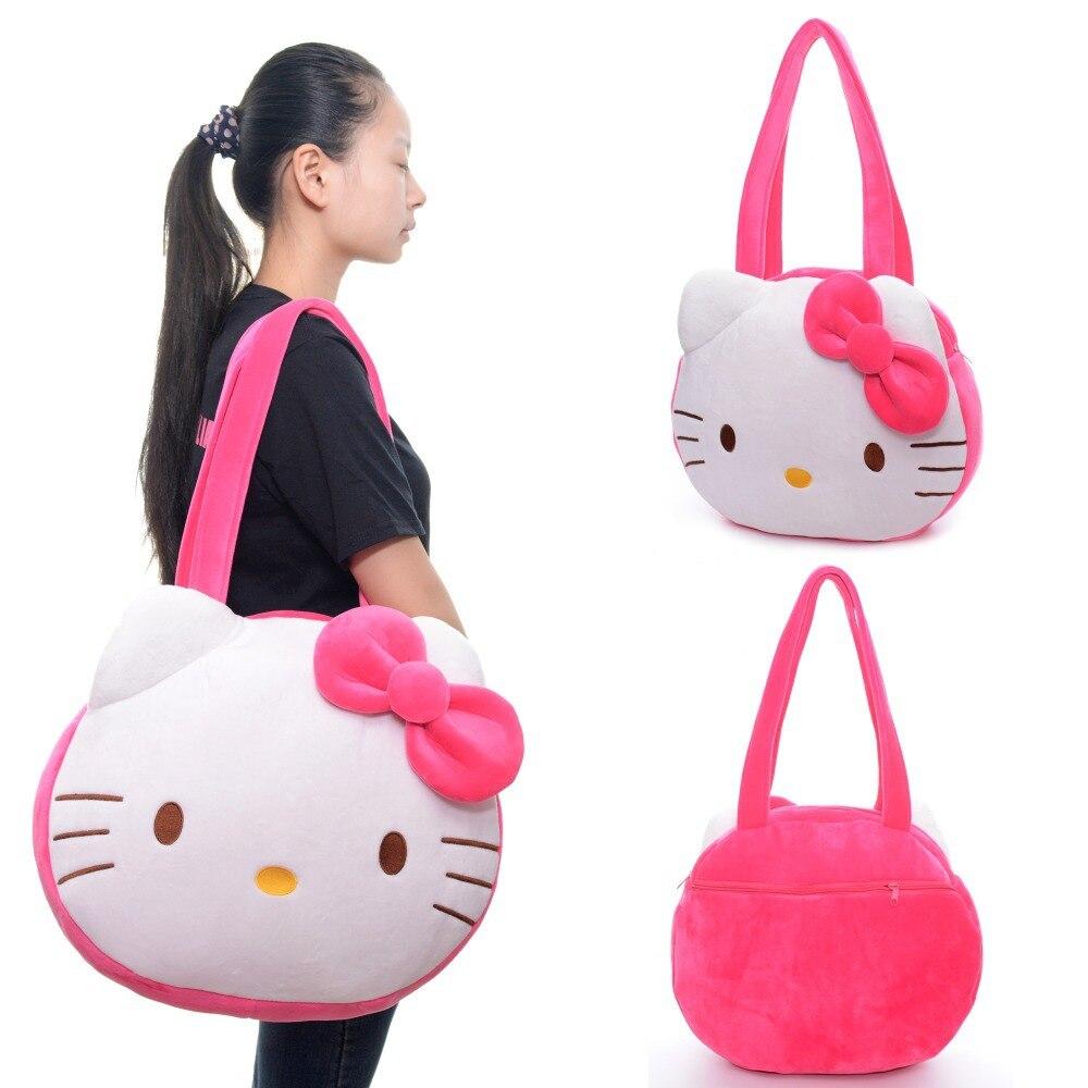Kawaii Hello Kitty Tote Bag Plush Girls Women Cartoon White Large handbag Shoulder Casual Fashion Shopper Tote Bags 16*13''
