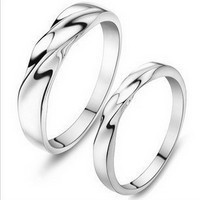 MSF JZ14 fine jewelry 925 sterling silver + platinum plated anti-allergy lovers`couple rings free shipping