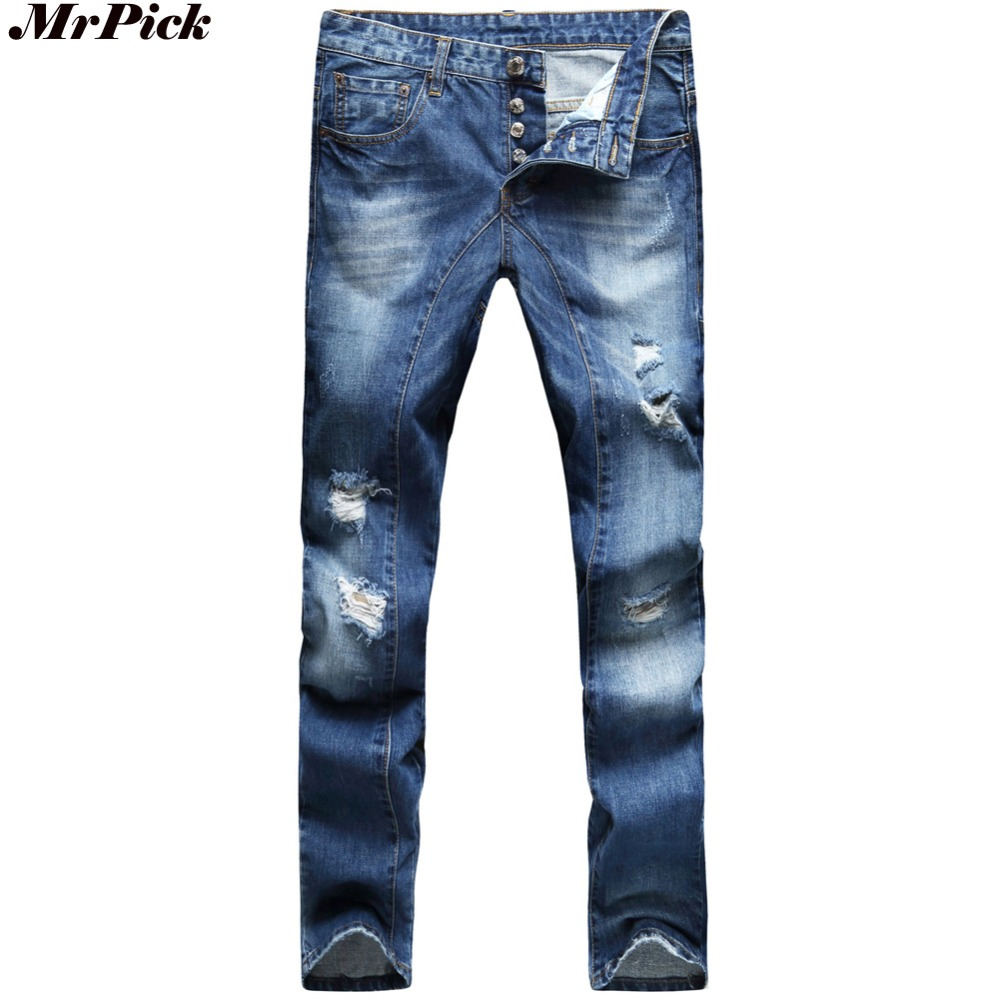 Button Fly Men Ripped Jeans Design Slim Fit Fashion Biker Jeans For Men Denim Skinny Straight Jeans Y2034 2016 new dsel brand men jeans men fashion skinny jeans men men straight fit leisure quality cotton biker jeans denim